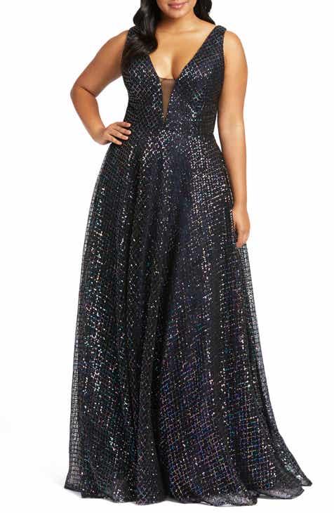 Mac Duggal Multicolor Lattice Sequin Gown (Plus Size)