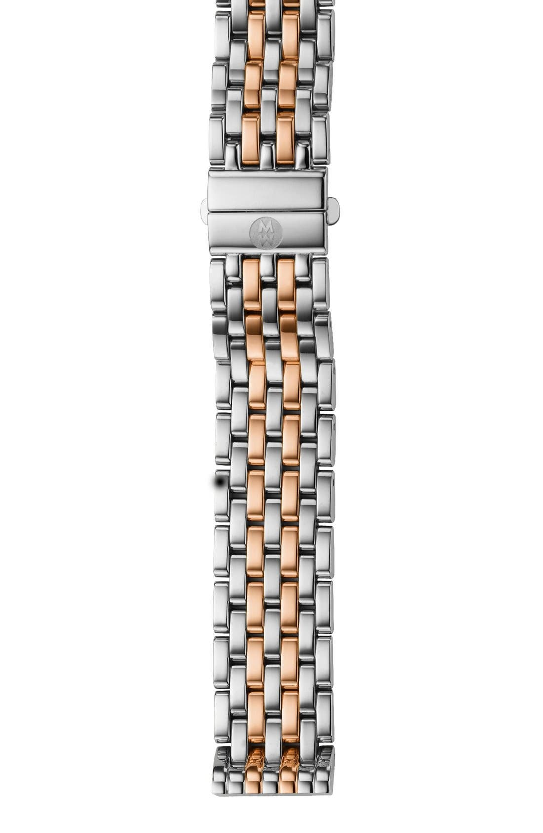 'Deco' 16mm Two-Tone Bracelet Watch Band,                         Main,                         color, Silver/ Rose Gold