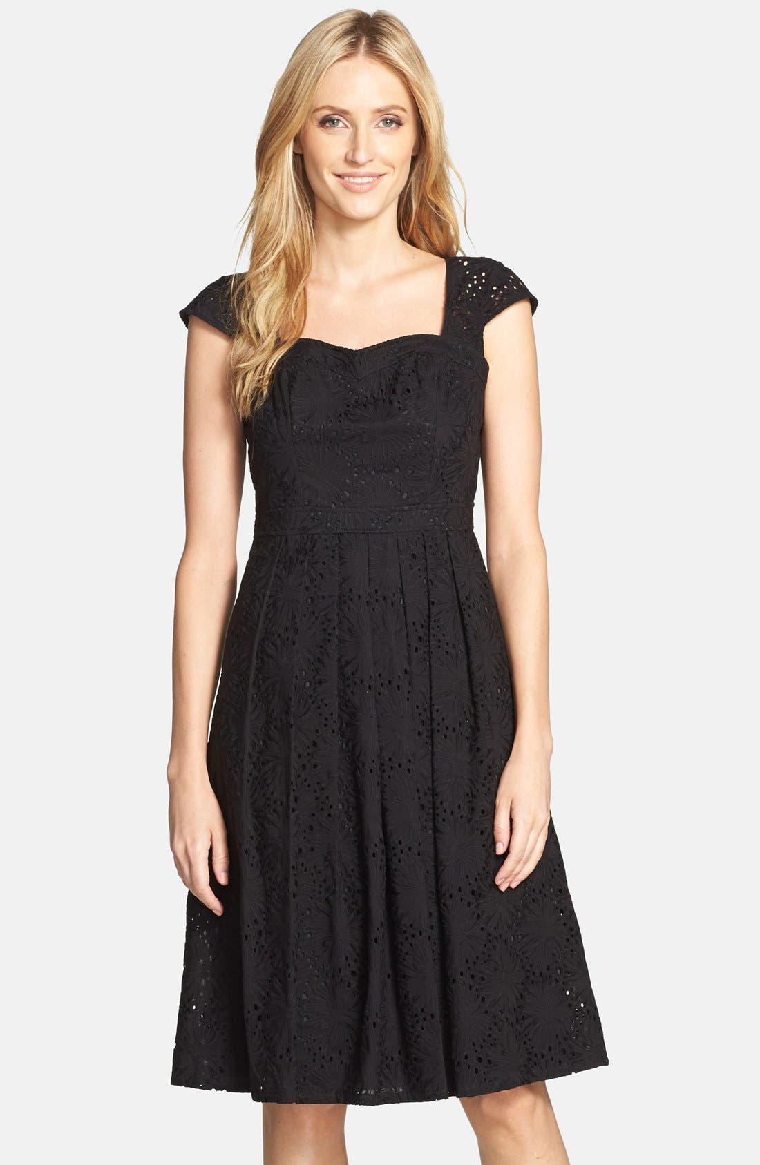 Alternate Image 1 Selected - Adrianna Papell Eyelet Fit & Flare Dress