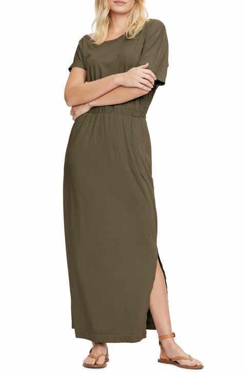 Michael Stars Chantel Side Slit Short Sleeve Cotton Blend Maxi Dress