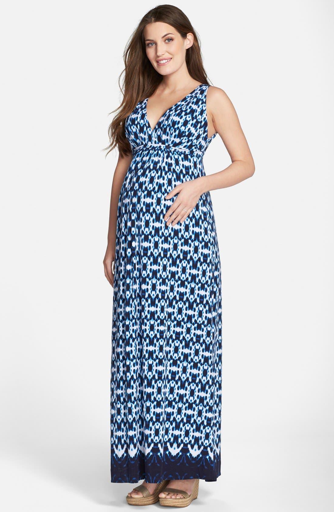 'Chloe' Maternity Maxi Dress,                             Main thumbnail 1, color,                             Circle Tie Dye