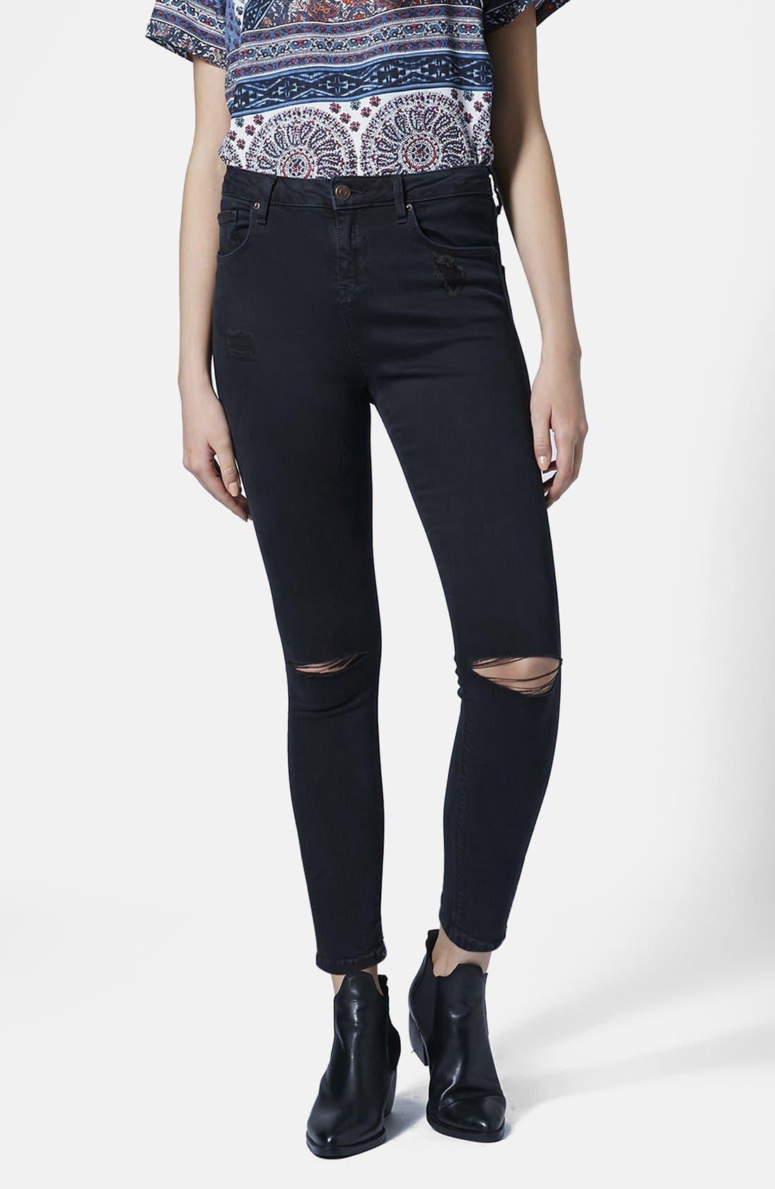 Alternate Image 1 Selected - Topshop 'Jamie' Ripped Skinny Jeans (Petite)