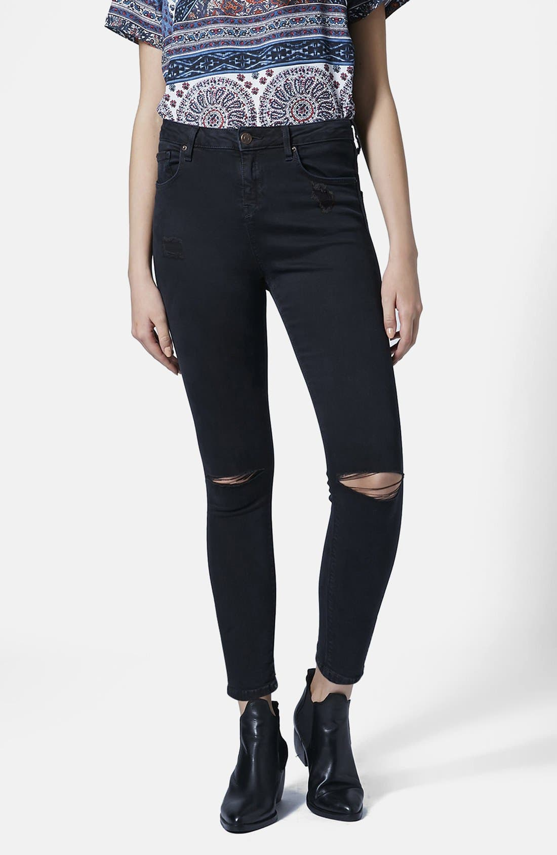 Main Image - Topshop 'Jamie' Ripped Skinny Jeans (Petite)