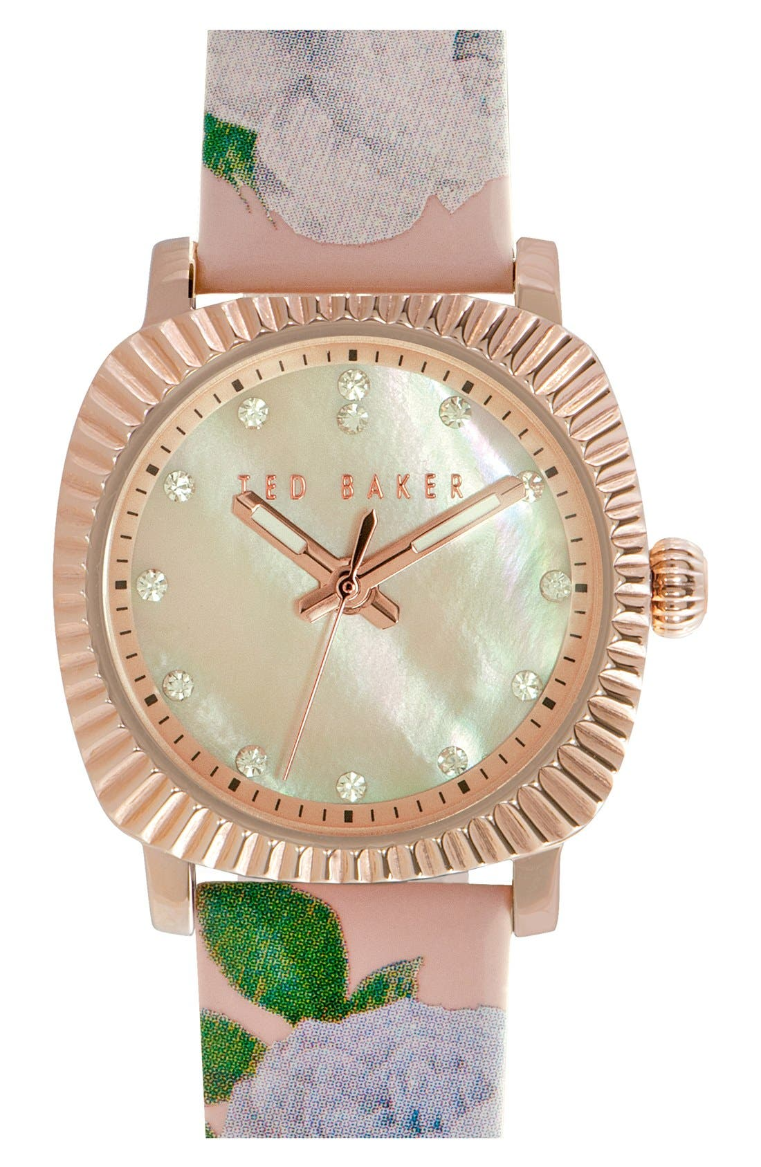 Main Image - Ted Baker London 'Mini Jewels' Patent Leather Strap Watch, 26mm