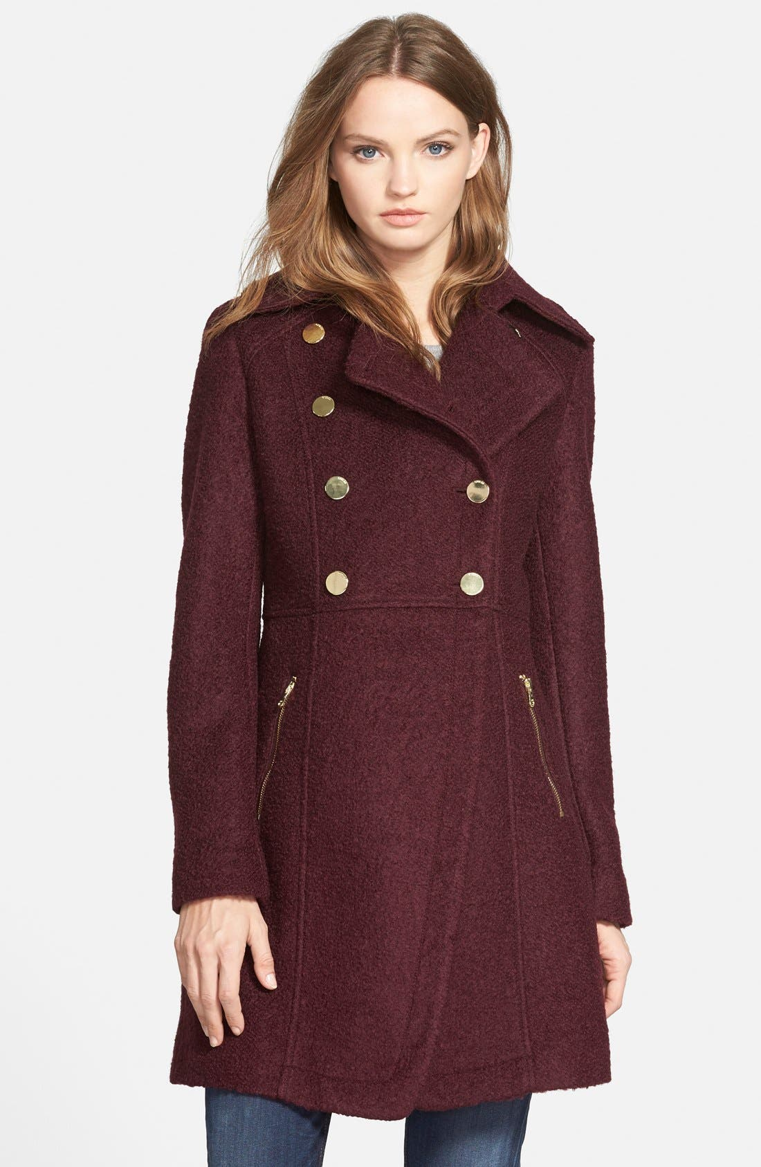 GUESS Double Breasted Bouclé Cutaway Coat (Regular & Petite)