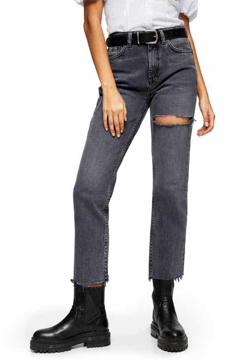 Topshop NY Thigh Rip Raw Hem Straight Leg Jeans (Smoke Grey)