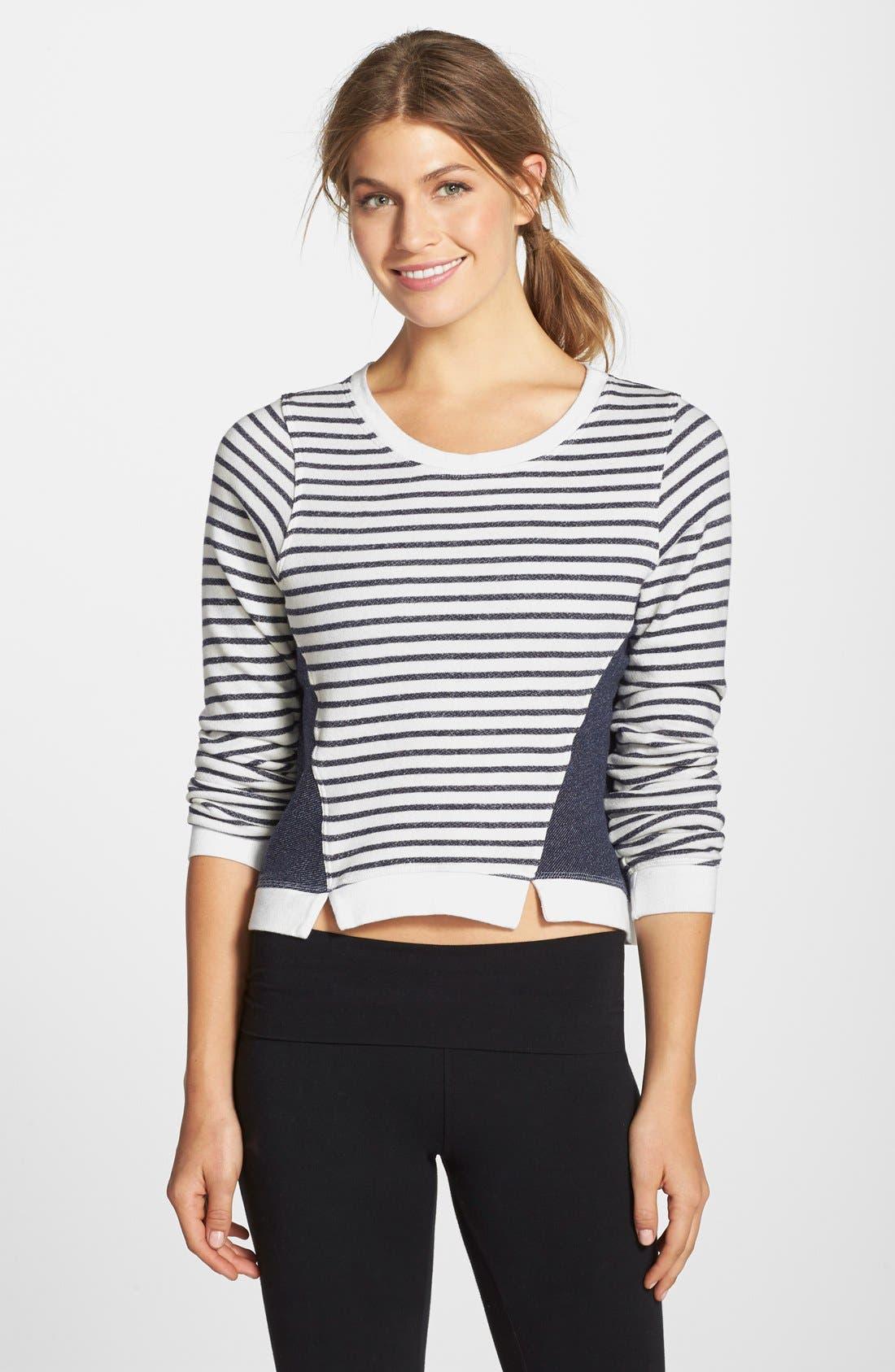 Main Image - Hard Tail Stripe Crop Sweatshirt