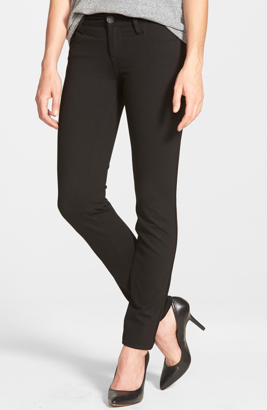 'Mia' Stretch Knit Five-Pocket Skinny Pants,                         Main,                         color, Black