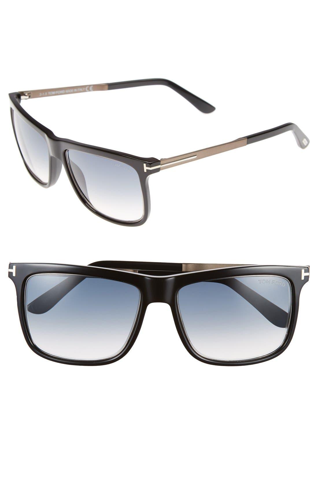 'Karlie' 57mm Retro Sunglasses,                             Main thumbnail 1, color,                             Matte Black/ Gradient Blue