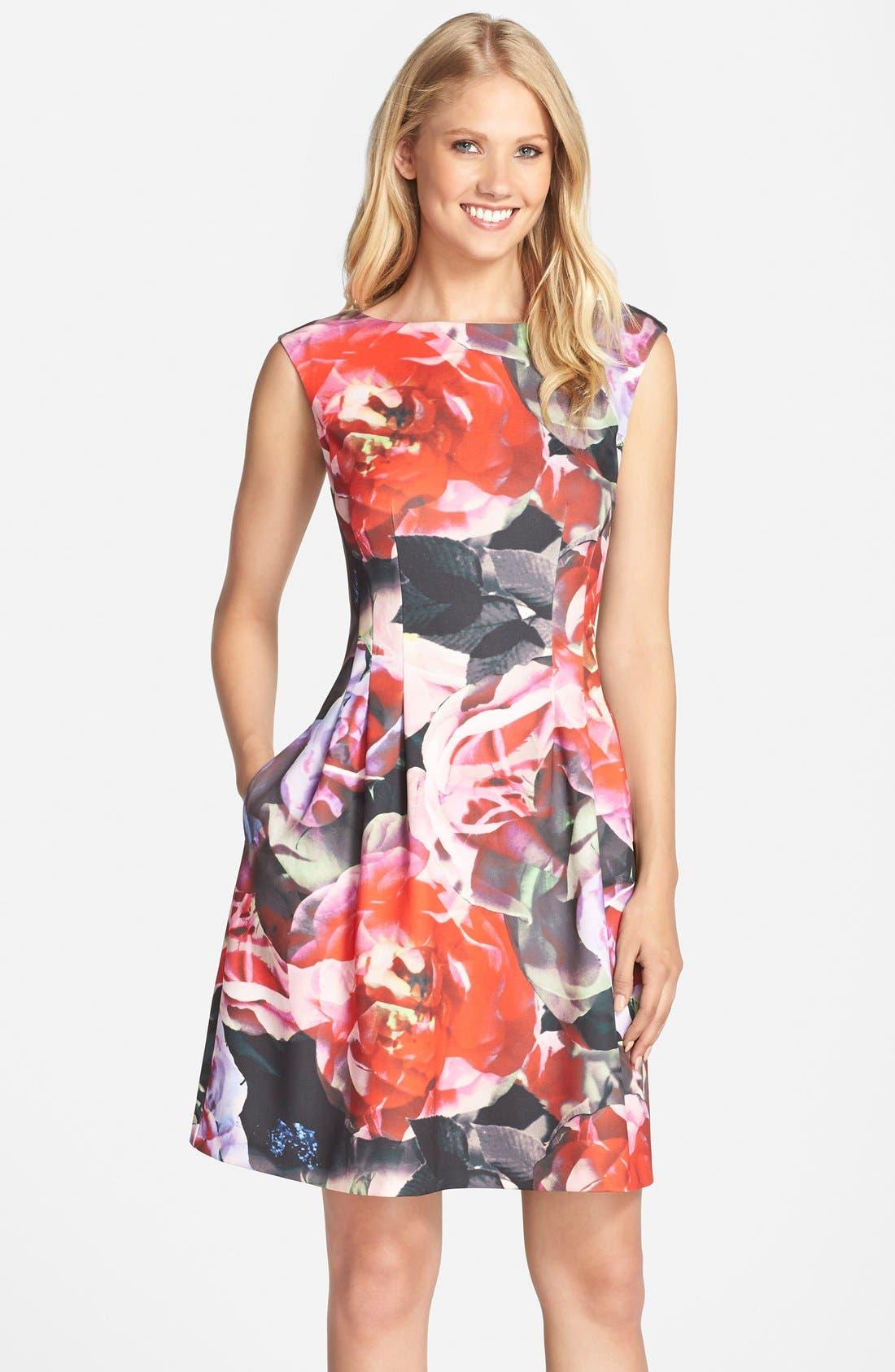 Main Image - Vince Camuto Floral Print Scuba Fit & Flare Dress (Regular & Petite)