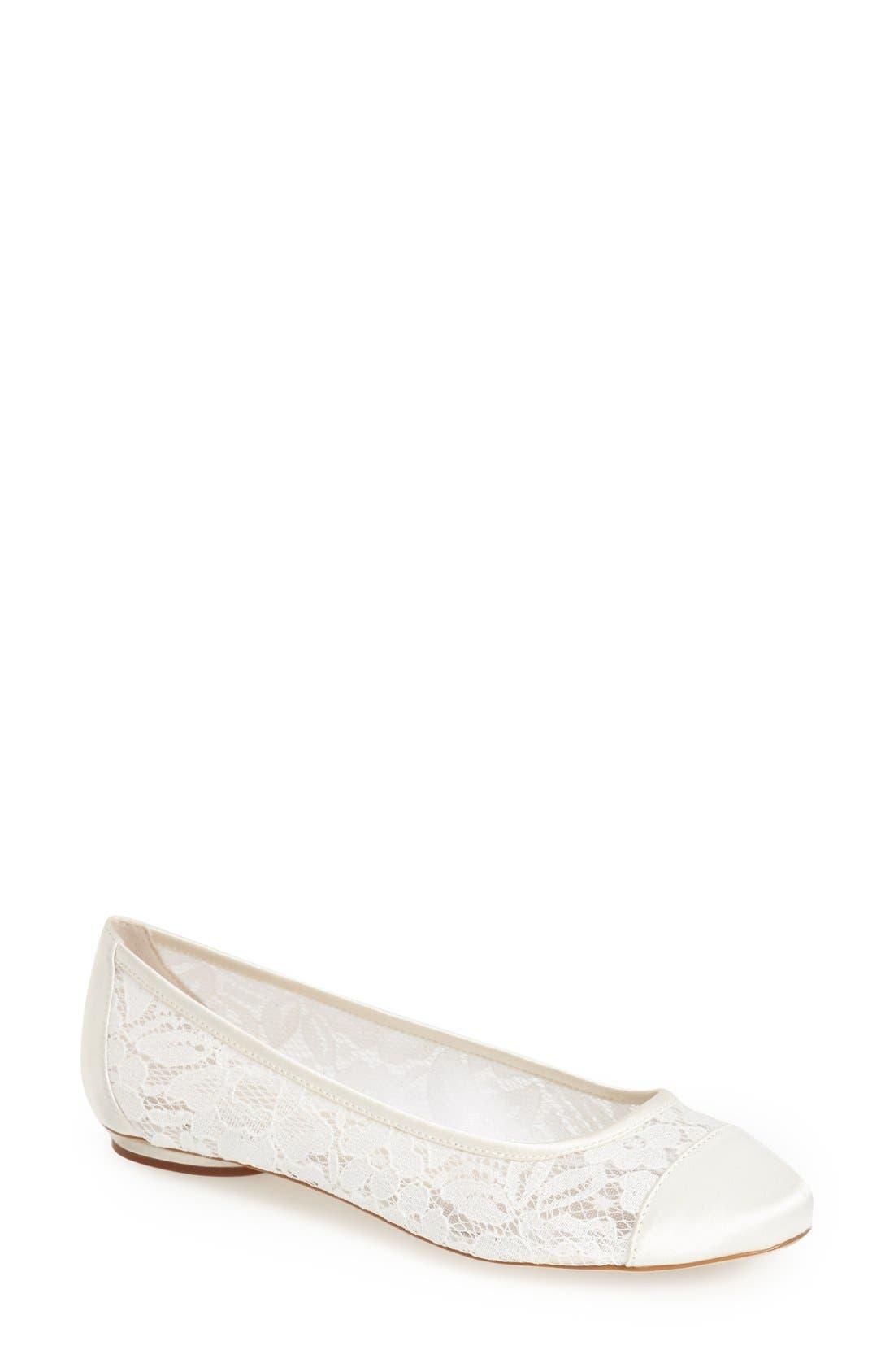 'Sweetie' Lace Cap Toe Ballet Flat,                             Main thumbnail 1, color,                             Ivory Lace/ Mesh