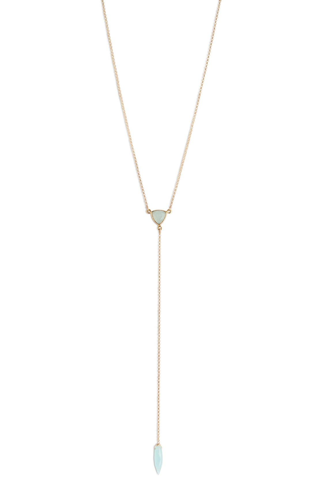 Stone Y-Necklace,                         Main,                         color, Gold/ Aqua Chalcedony