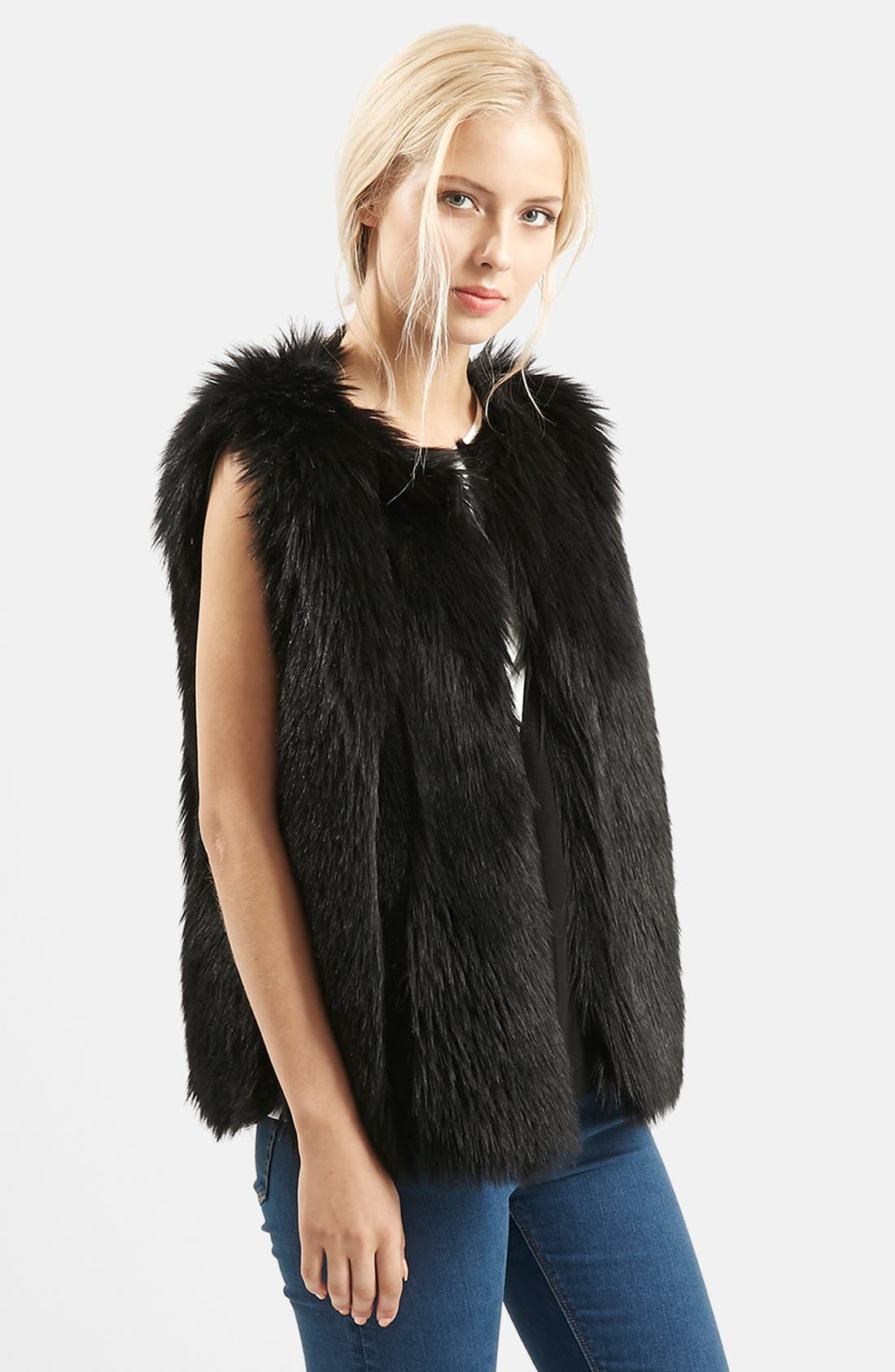 Alternate Image 1 Selected - Topshop 'Leah' Faux Fur Vest