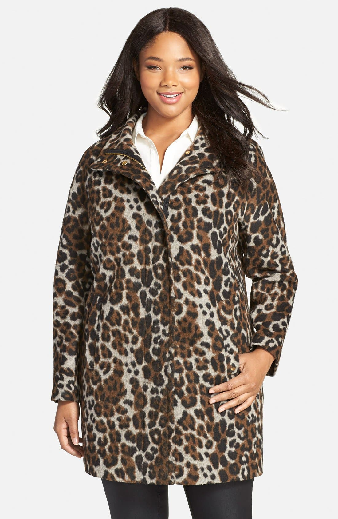 Ellen Tracy Leopard Print Car Coat (Plus Size)