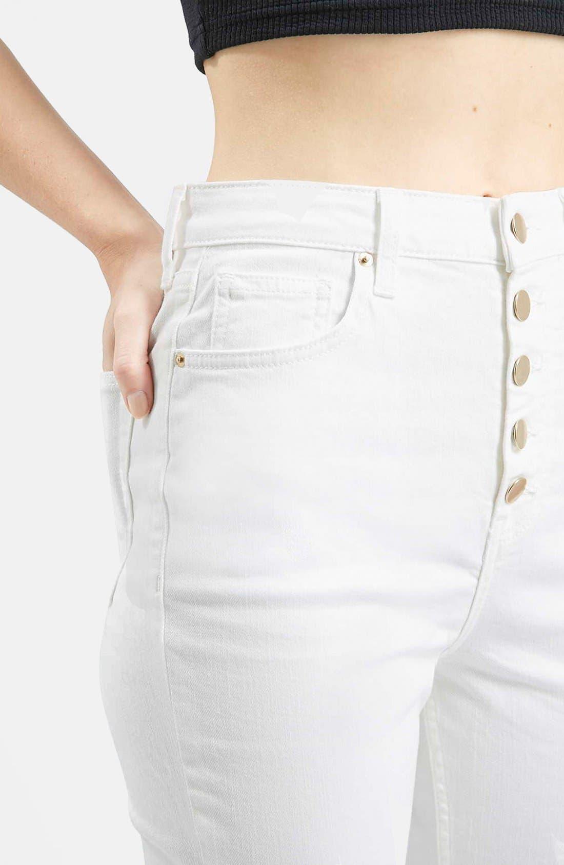 Alternate Image 4  - Topshop Moto 'Binx' Button Front Slim Jeans (White)