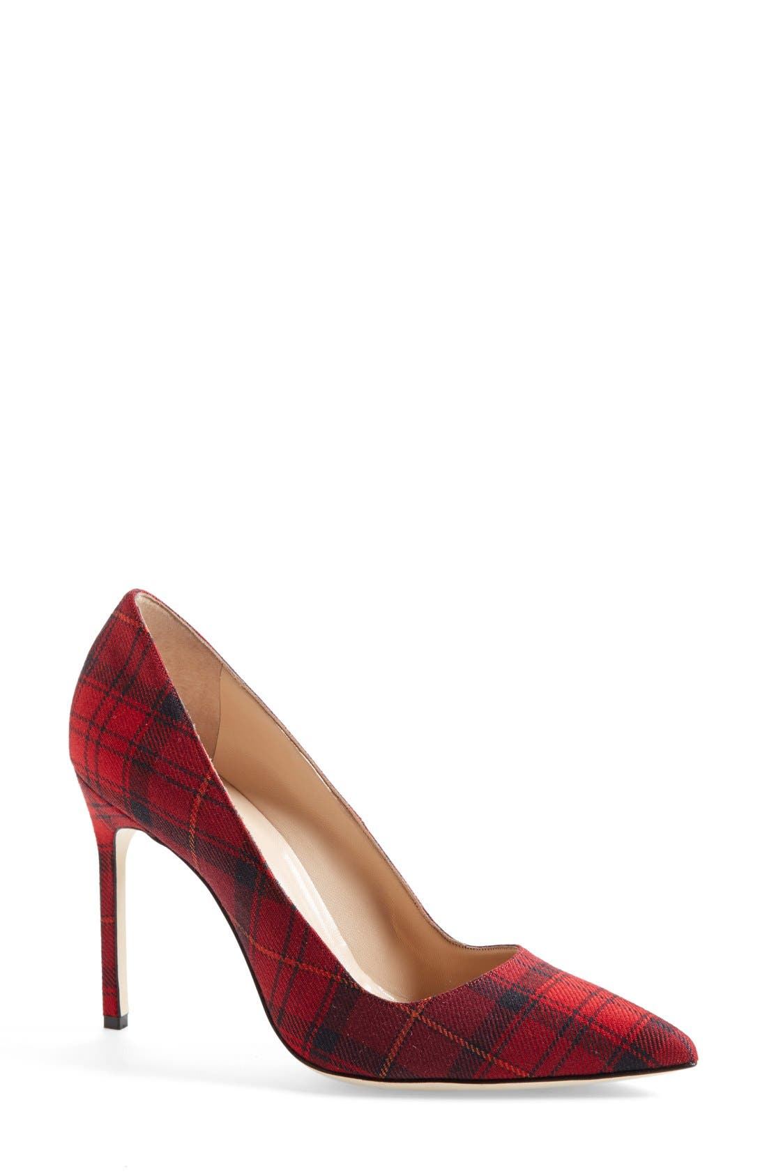 BB Pointy Toe Pump,                             Main thumbnail 1, color,                             Red Plaid Fabric