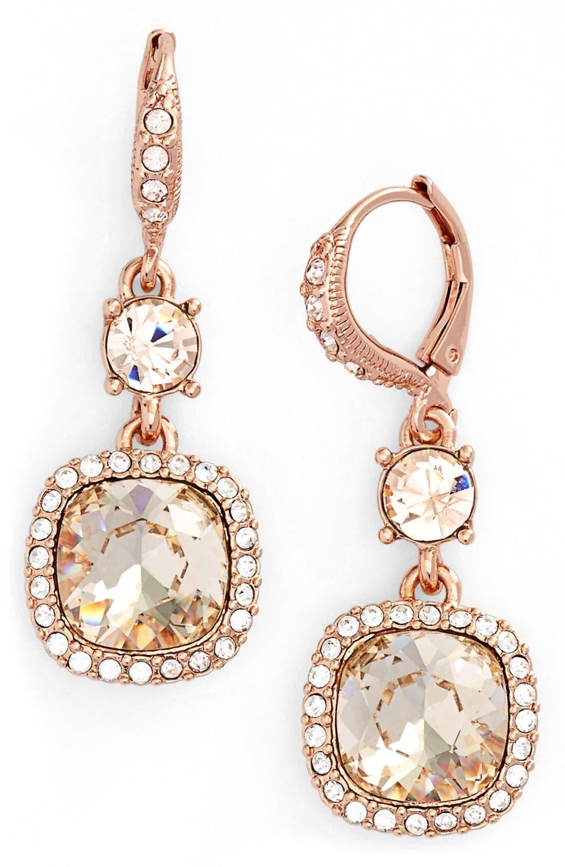'Legacy' Drop Earrings,                         Main,                         color, Rose Gold/ Silk/ Crystal