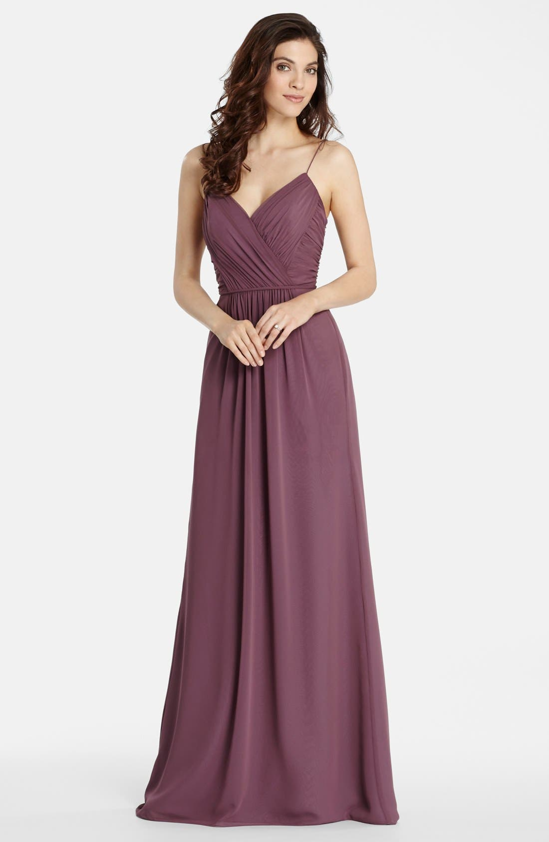 Draped V-Neck A-Line Chiffon Gown,                             Main thumbnail 1, color,                             Frosted Violet