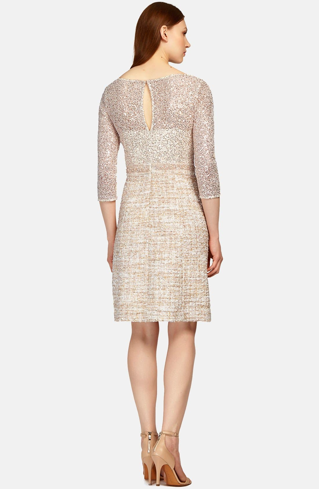 Alternate Image 2  - Kay Unger Mixed Media Fit & Flare Dress