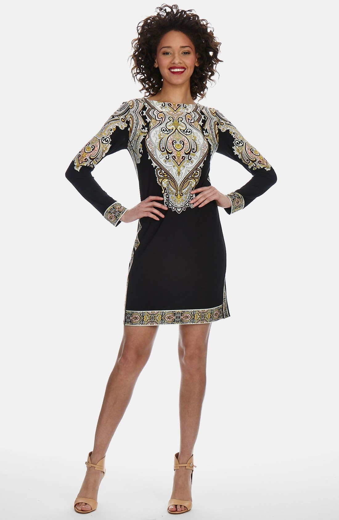 Main Image - Donna Morgan Border Detail Jersey Shift Dress (Regular & Petite)
