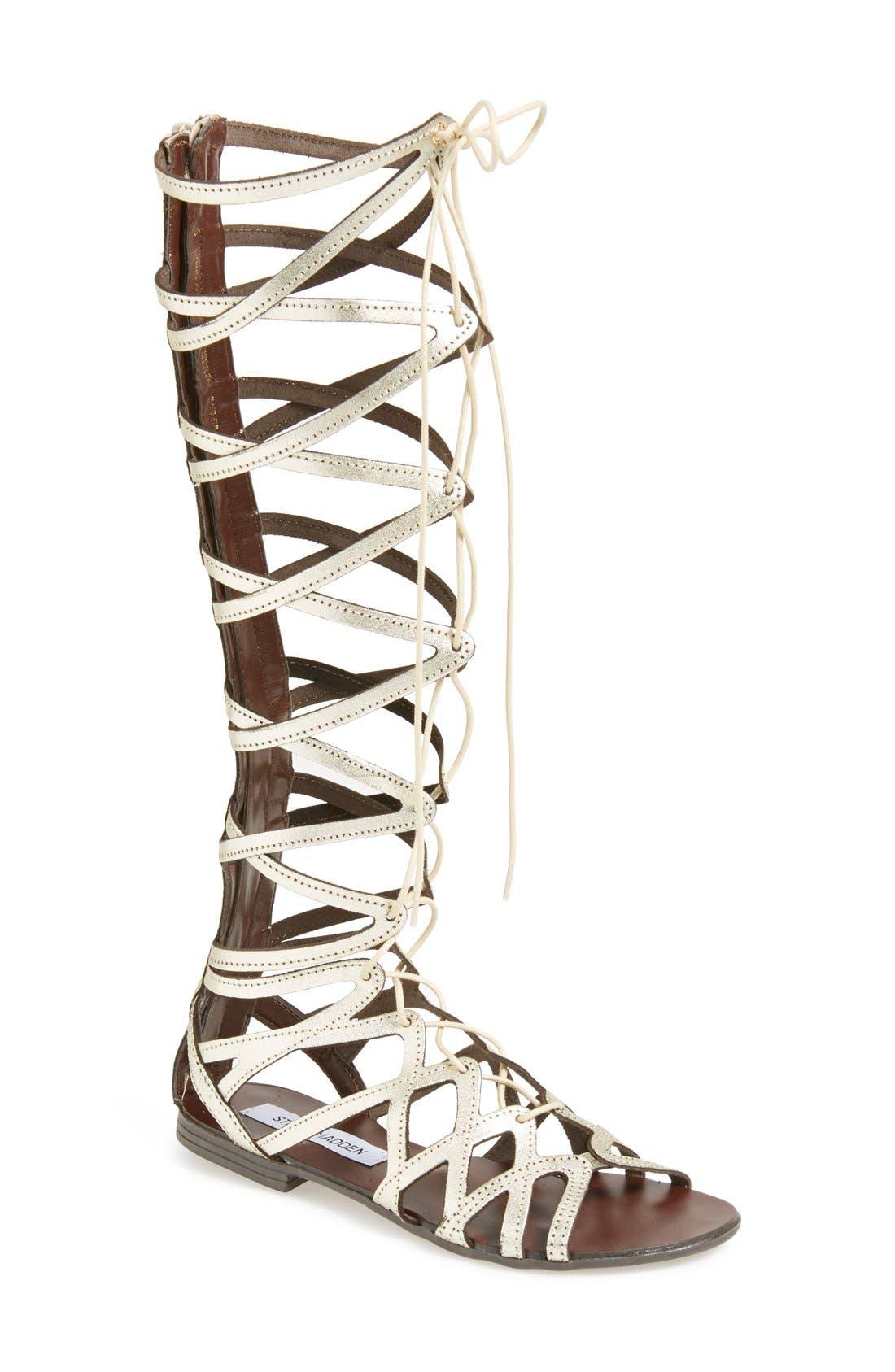 'Hercules' Gladiator Sandal,                         Main,                         color, Metallic Gold Leather