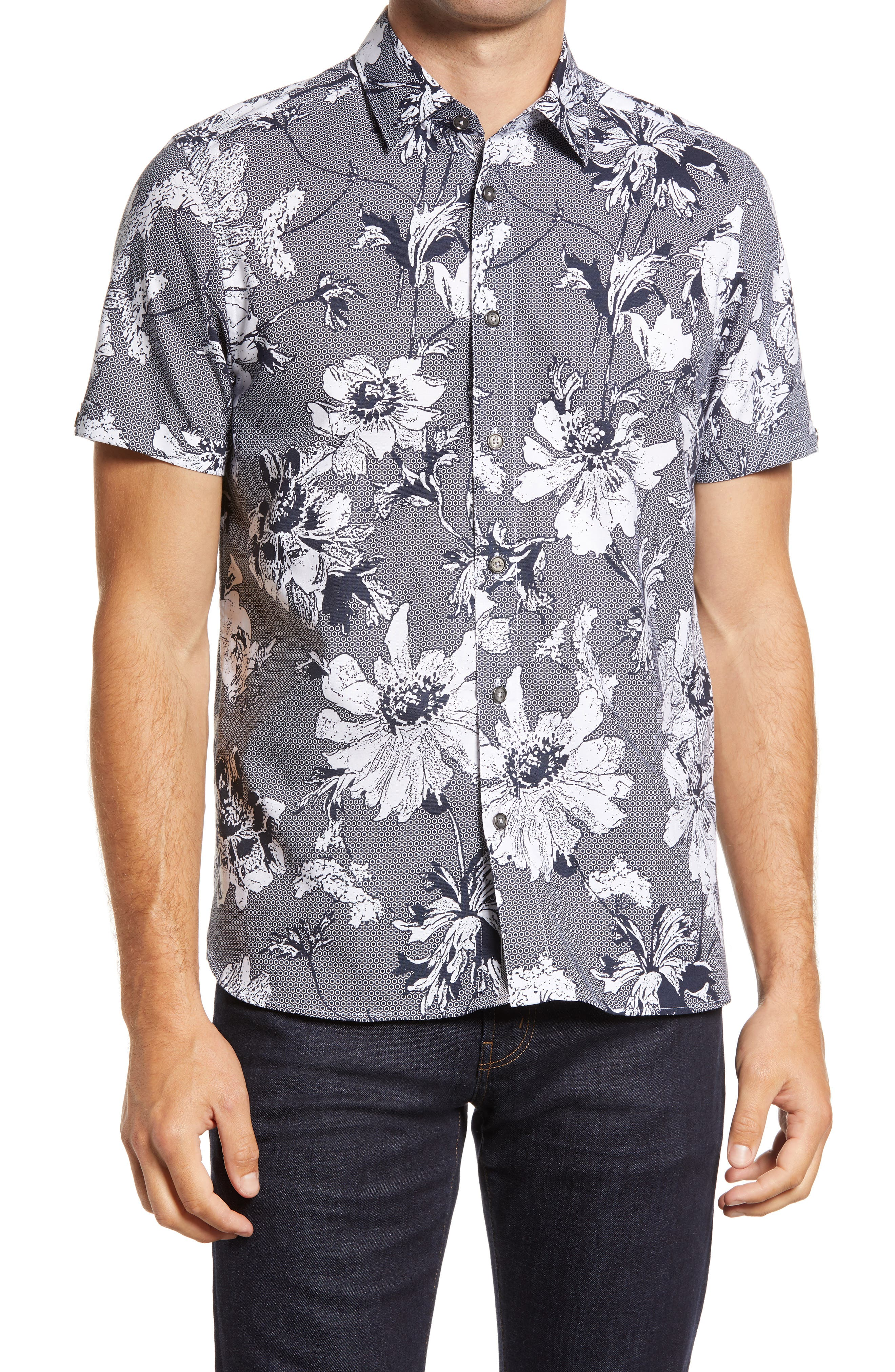 Mens Ultra Cotton Adult Short Sleeve T-Shirt Seamless floral Summer Pattern Background Hummingbird Palm Leaves floral Pretty