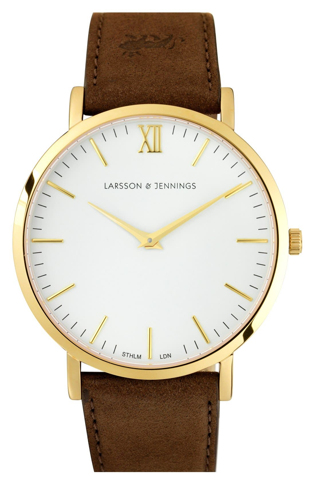 'Lugano' Leather Strap Watch, 40mm,                         Main,                         color, Brown/ White/ Gold