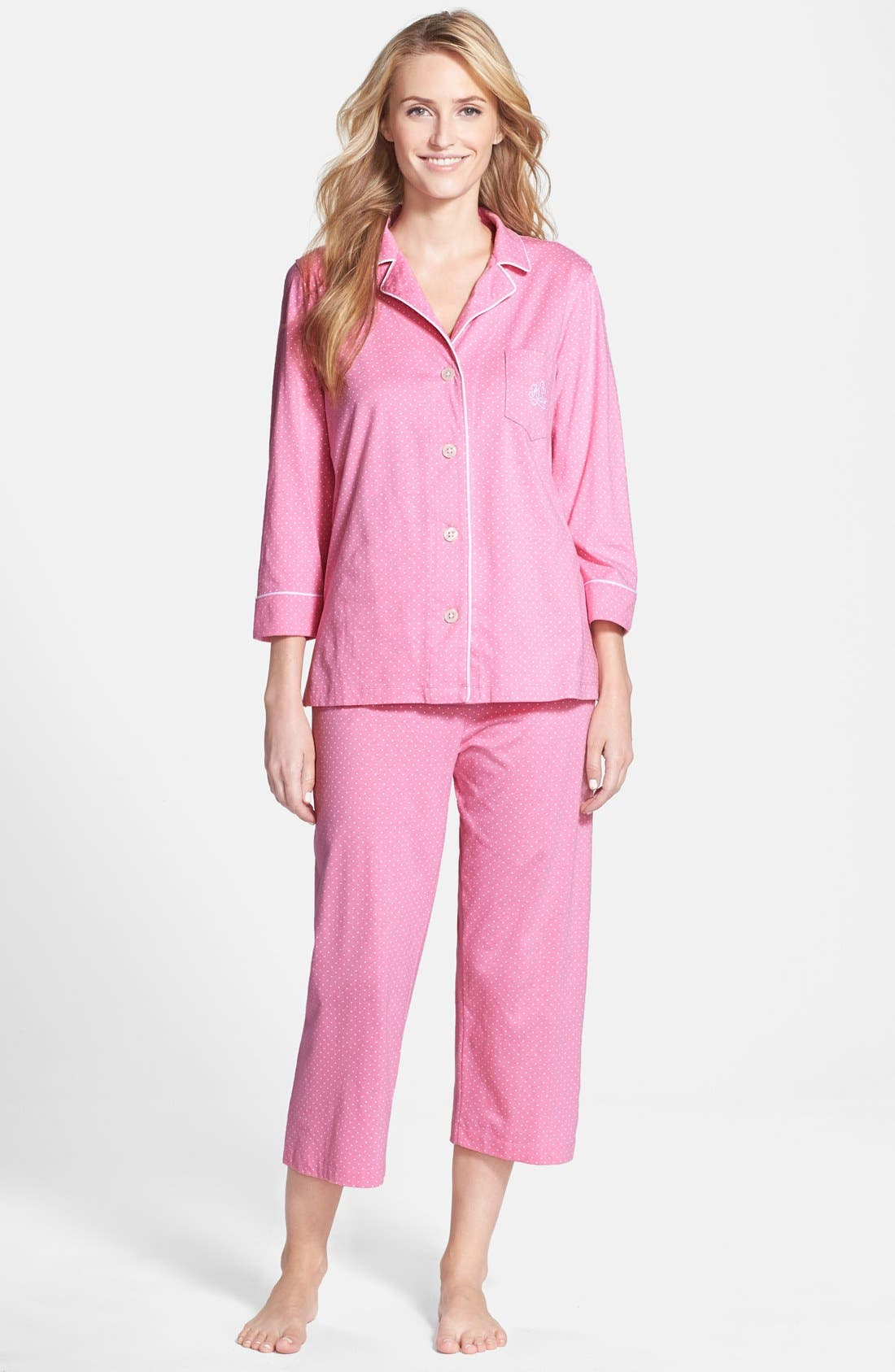 Alternate Image 1 Selected - Lauren Ralph Lauren Knit Crop Pajamas (Online Only)