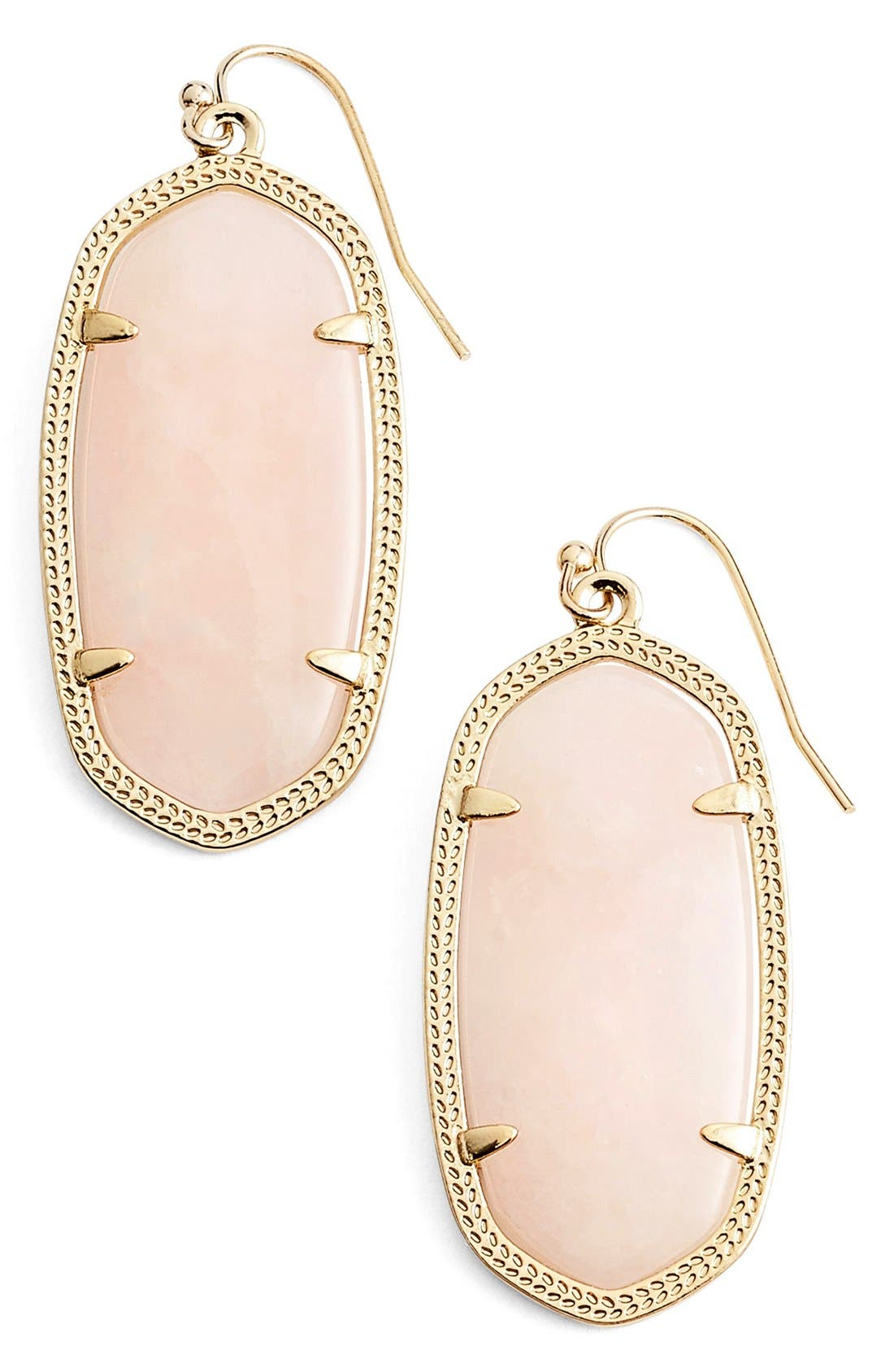 Elle Drop Earrings,                             Main thumbnail 1, color,                             Rose Quartz/ Gold