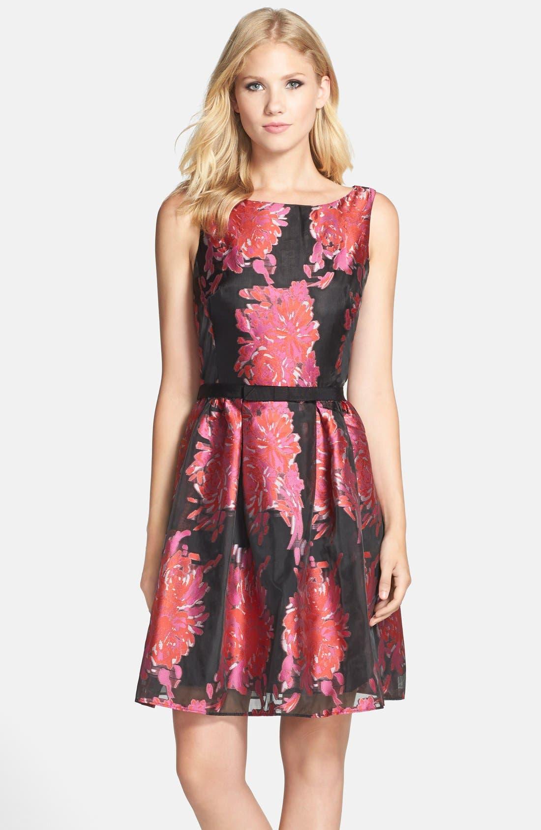 Alternate Image 1 Selected - Taylor Dresses Floral Burnout Organza Fit & Flare Dress