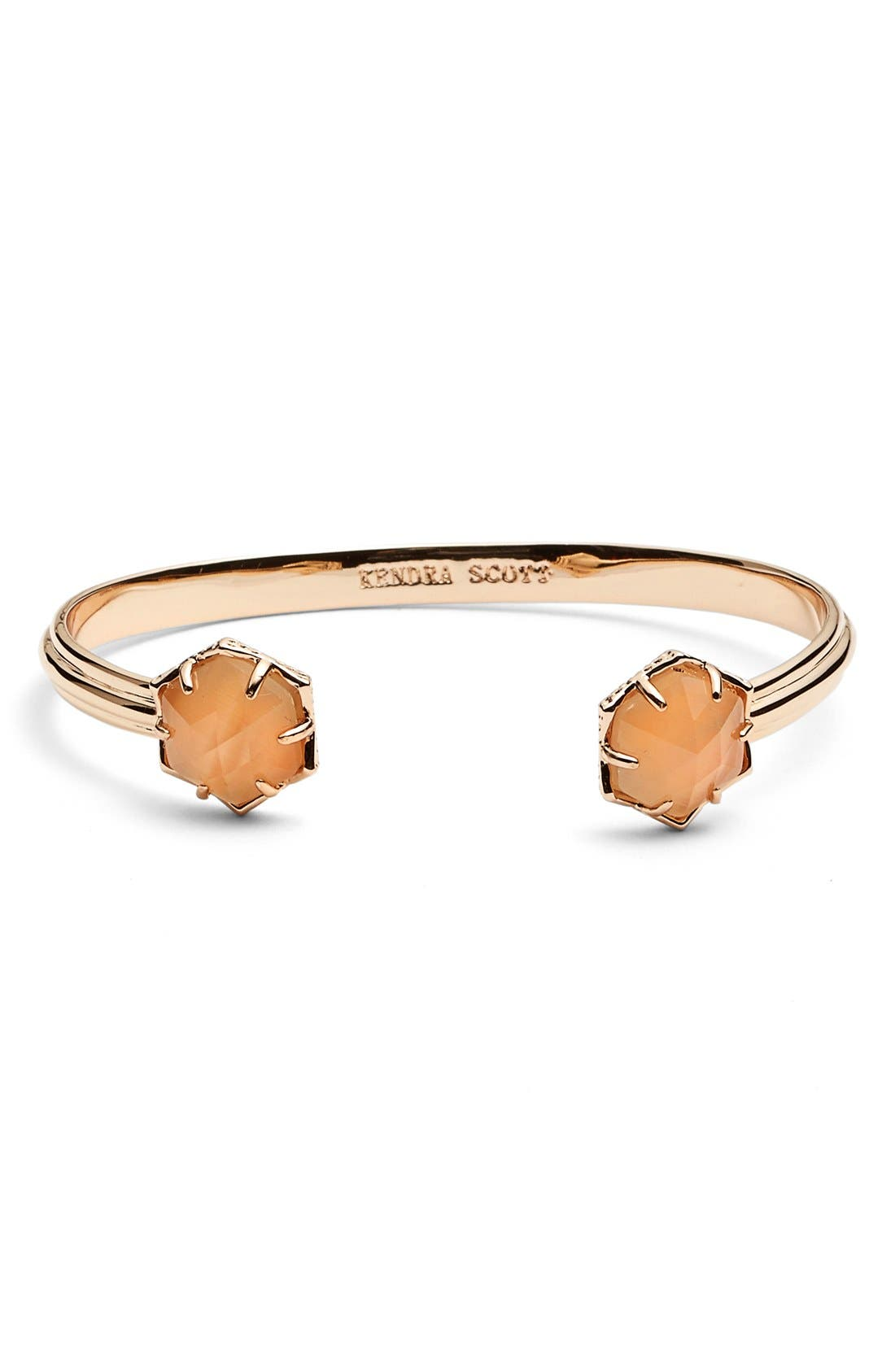 'Arden' Station Cuff,                             Main thumbnail 1, color,                             Rose Gold/ Peach Cats Eye