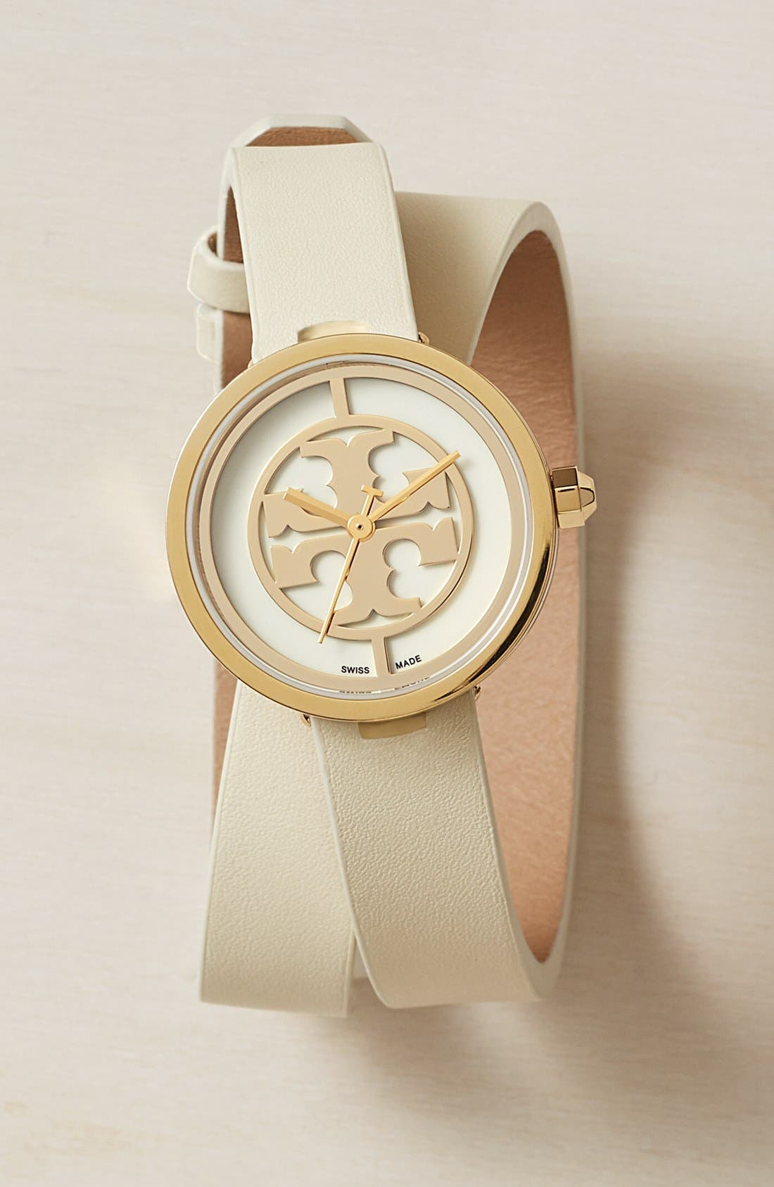 Alternate Image 6  - Tory Burch 'Reva' Logo Dial Double Wrap Leather Strap Watch, 28mm
