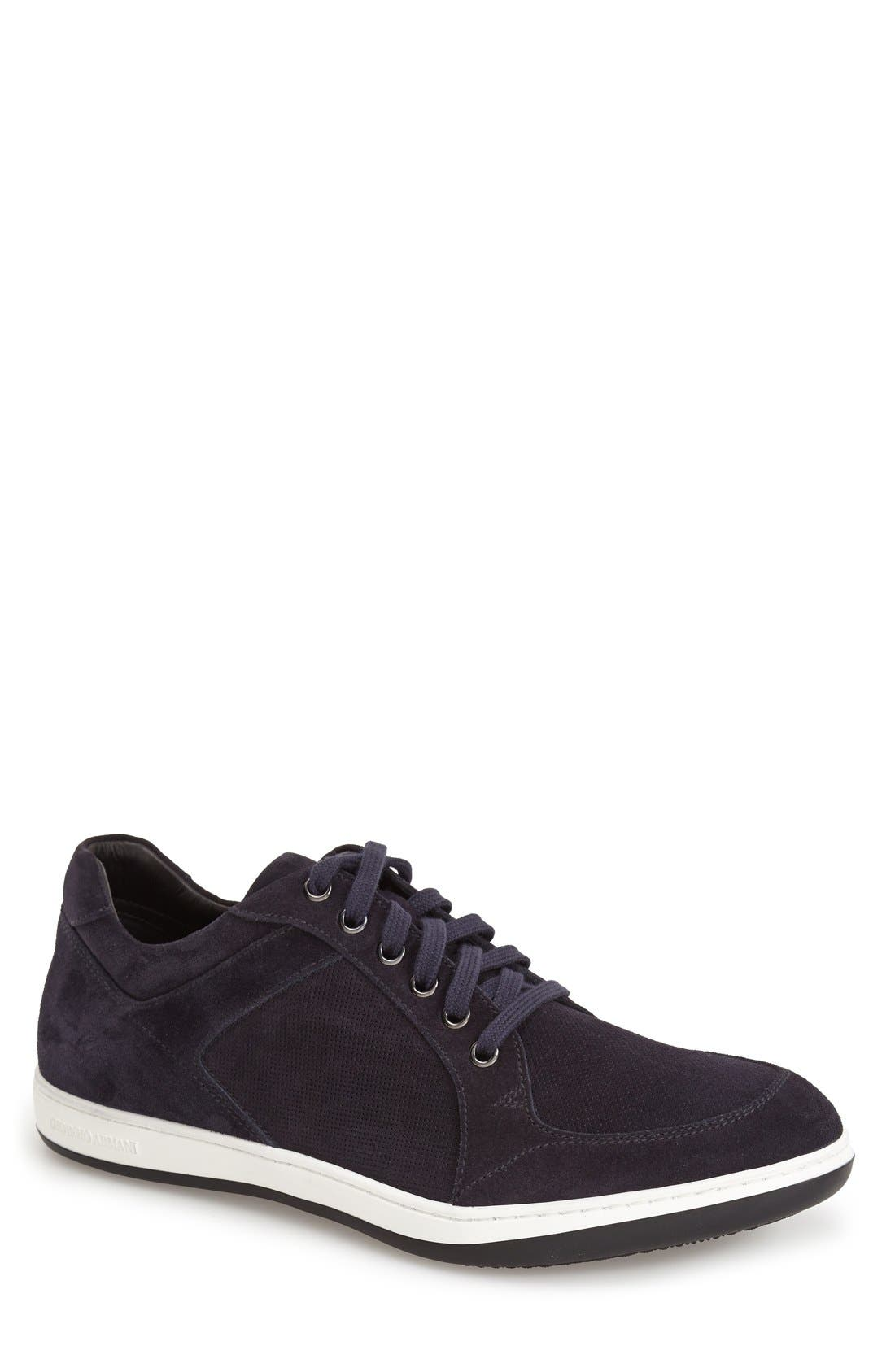 Alternate Image 1 Selected - Giorgio Armani Perforated Suede Sneaker (Men)