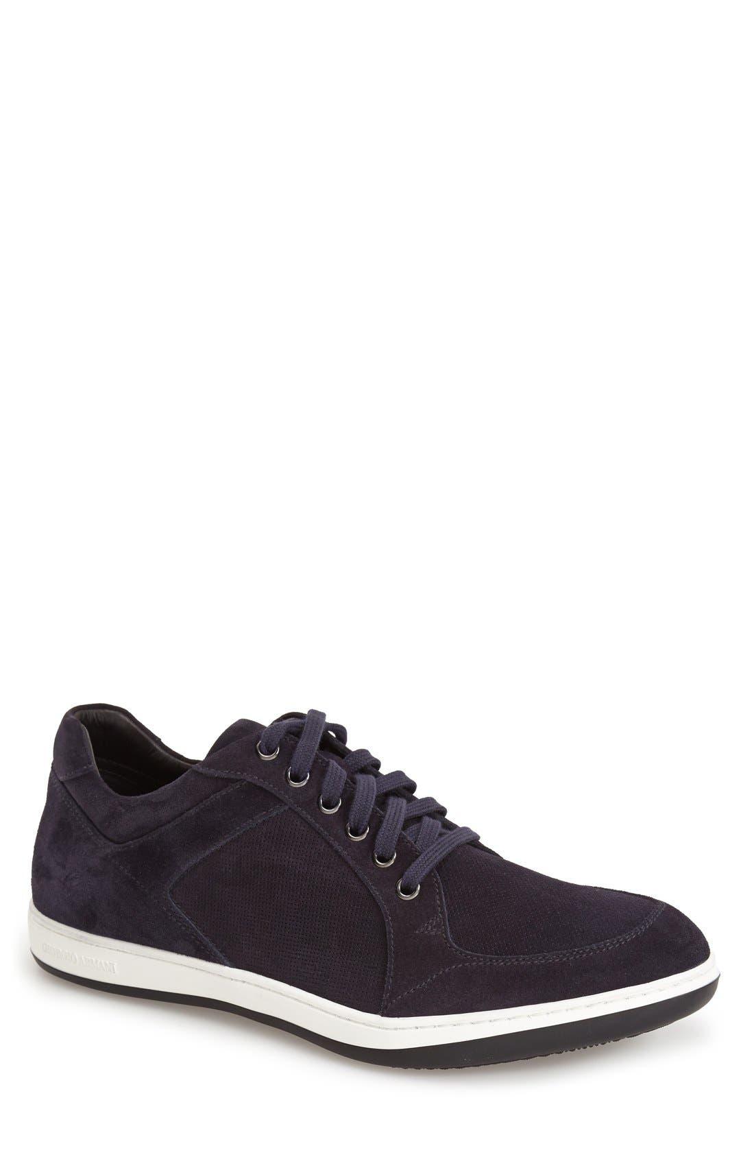 Giorgio Armani Perforated Suede Sneaker (Men)