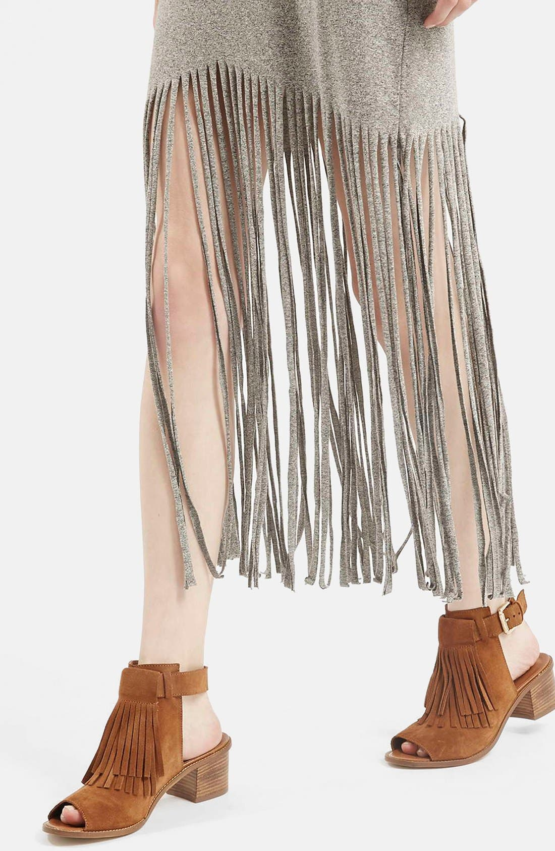 Sleeveless Fringe Dress,                             Alternate thumbnail 4, color,                             Grey