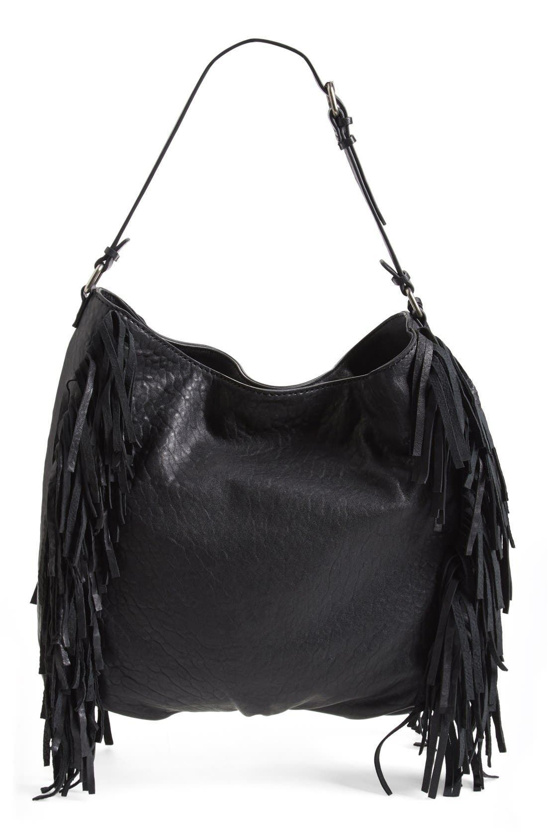 Treasure&Bond Fringe Hobo Bag,                             Alternate thumbnail 3, color,                             Black
