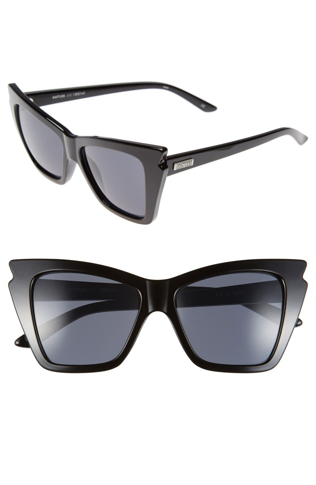 'Rapture' 55mm Bat Wing Sunglasses,                             Main thumbnail 1, color,                             Black