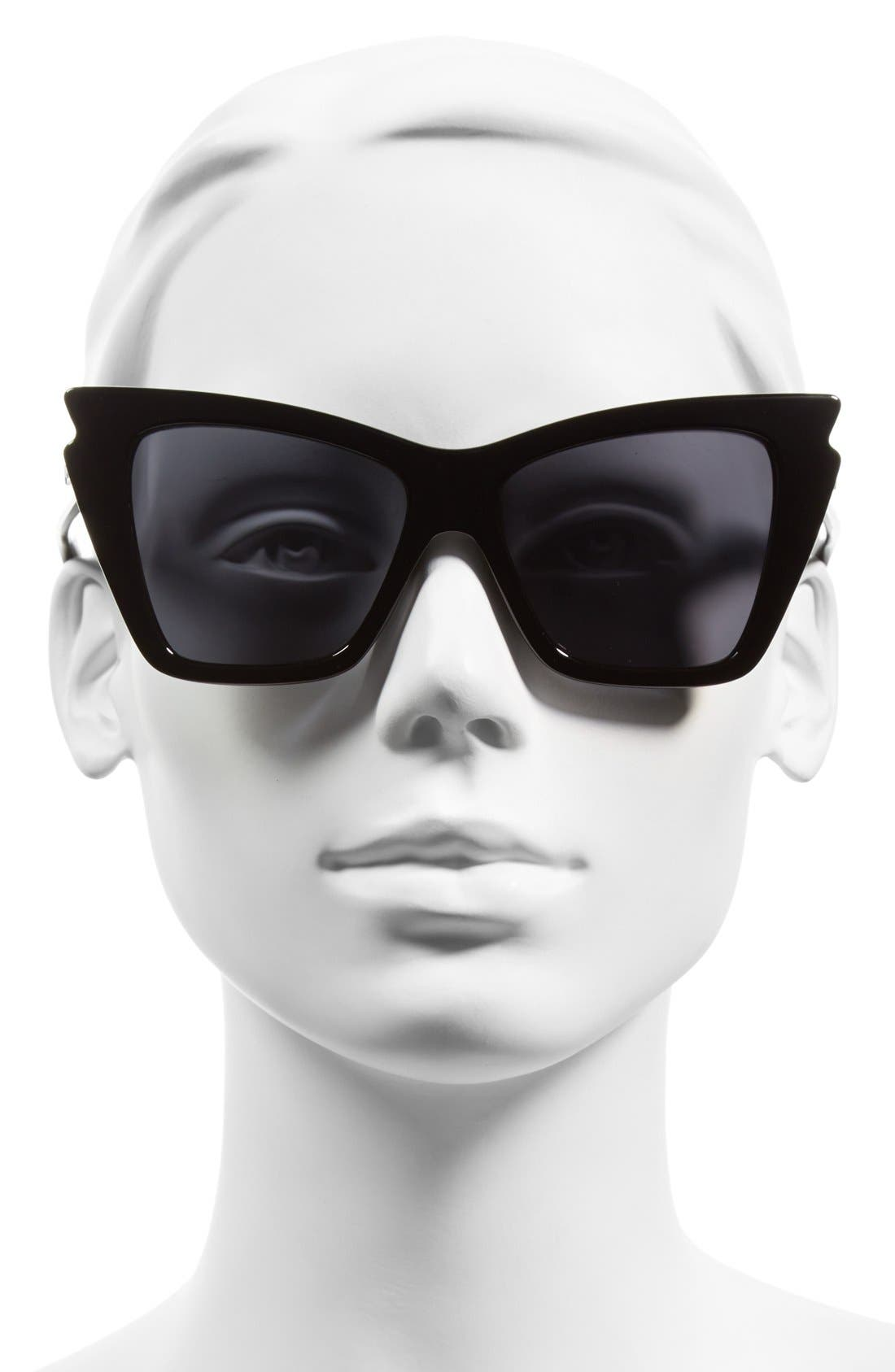 'Rapture' 55mm Bat Wing Sunglasses,                             Alternate thumbnail 2, color,                             Black