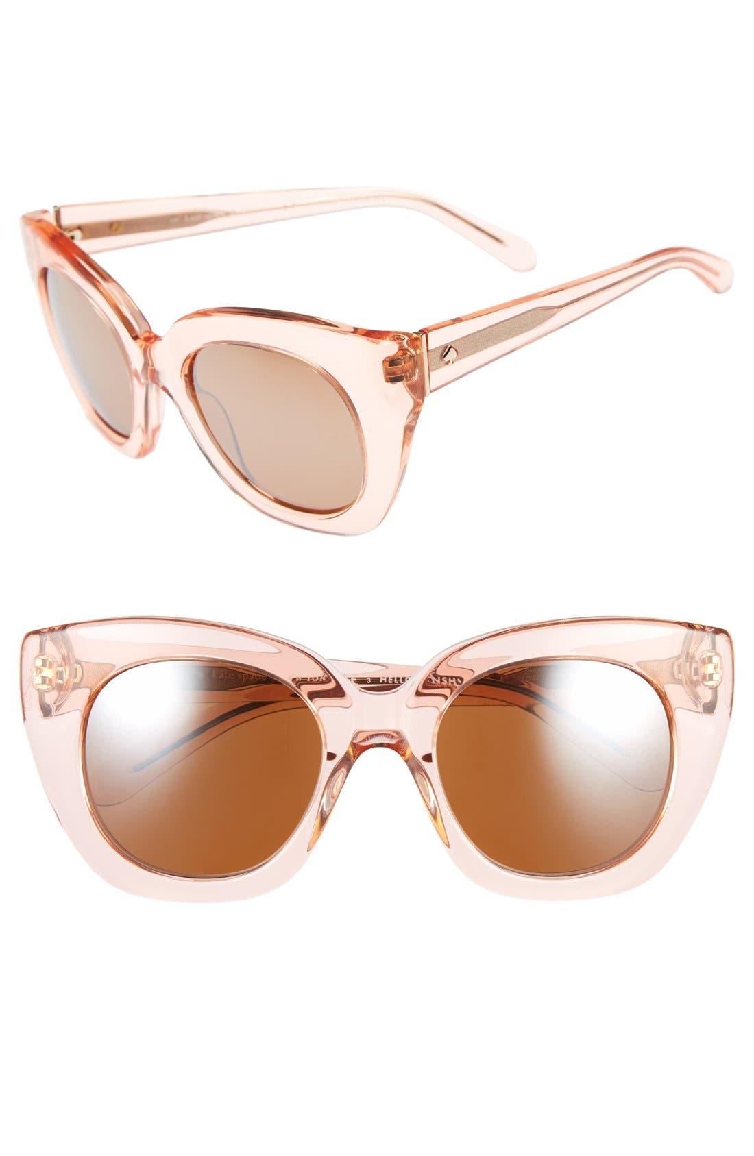 'narelle' 51mm retro sunglasses,                             Main thumbnail 1, color,                             Crystal Flamingo