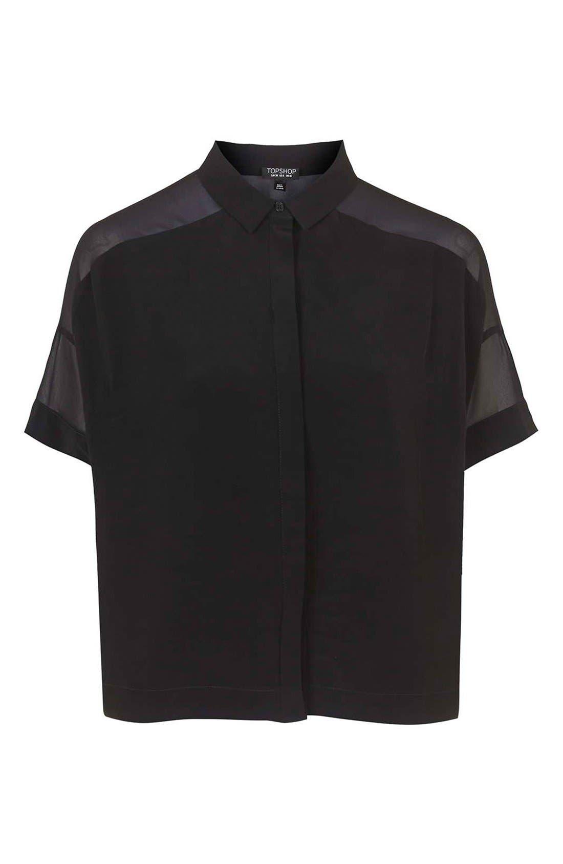 Alternate Image 4  - Topshop Chiffon Panel Shirt