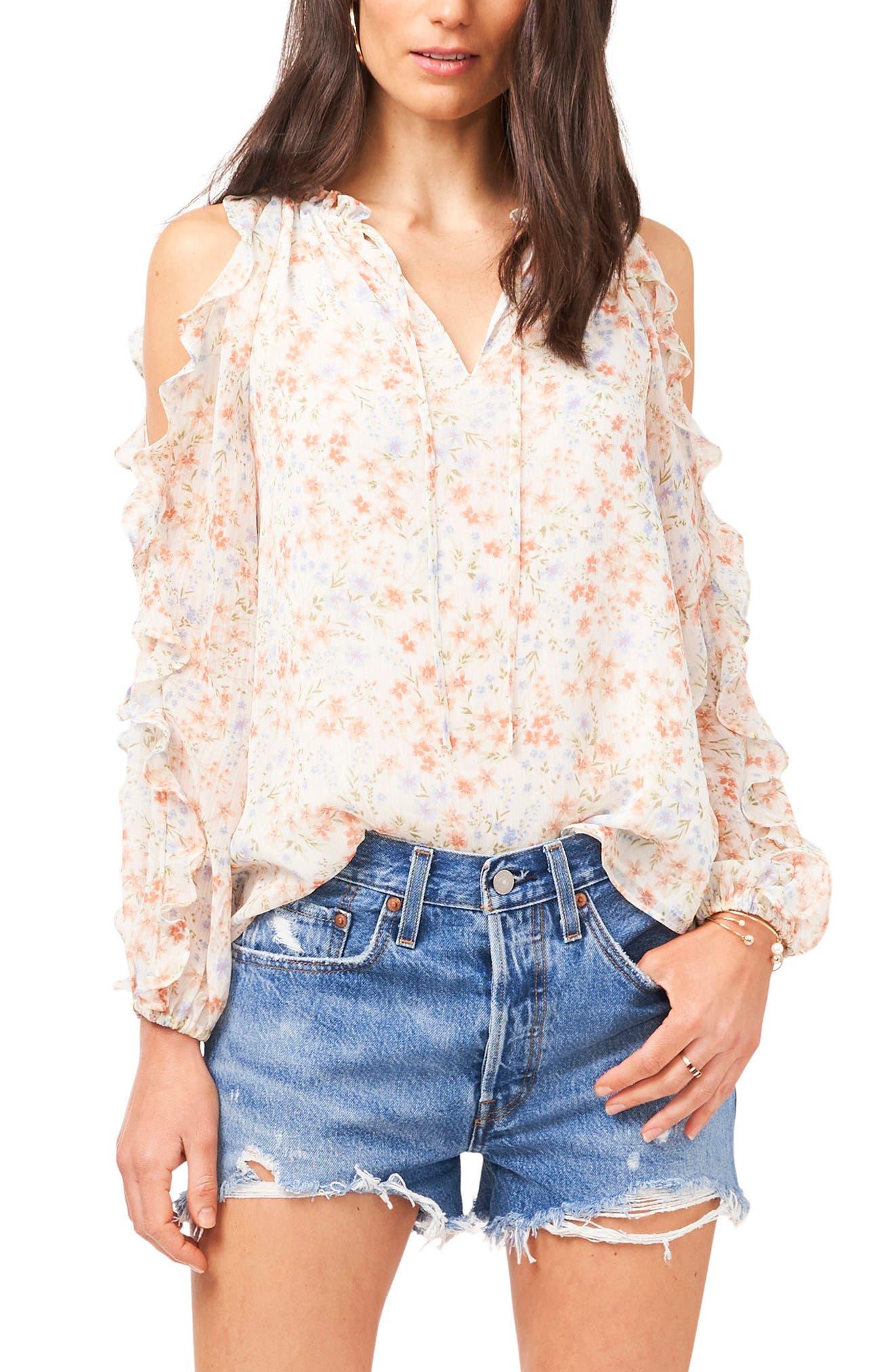 Women Cold Shoulder Casual Zipper Knitted Tops Long Sleeve Shirt Blouse T-shirt