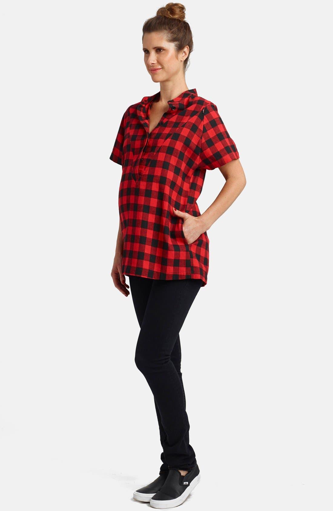 Short Sleeve Flannel Maternity/Nursing Top,                         Main,                         color, Buffalo Red