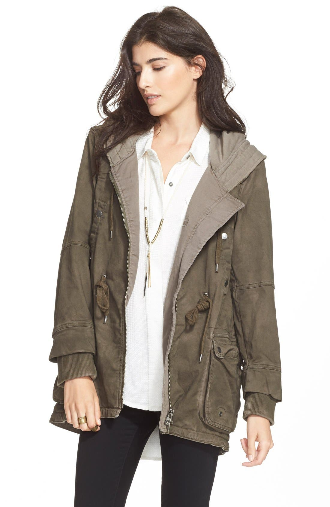 Alternate Image 1 Selected - Free People Twill Hooded Parka