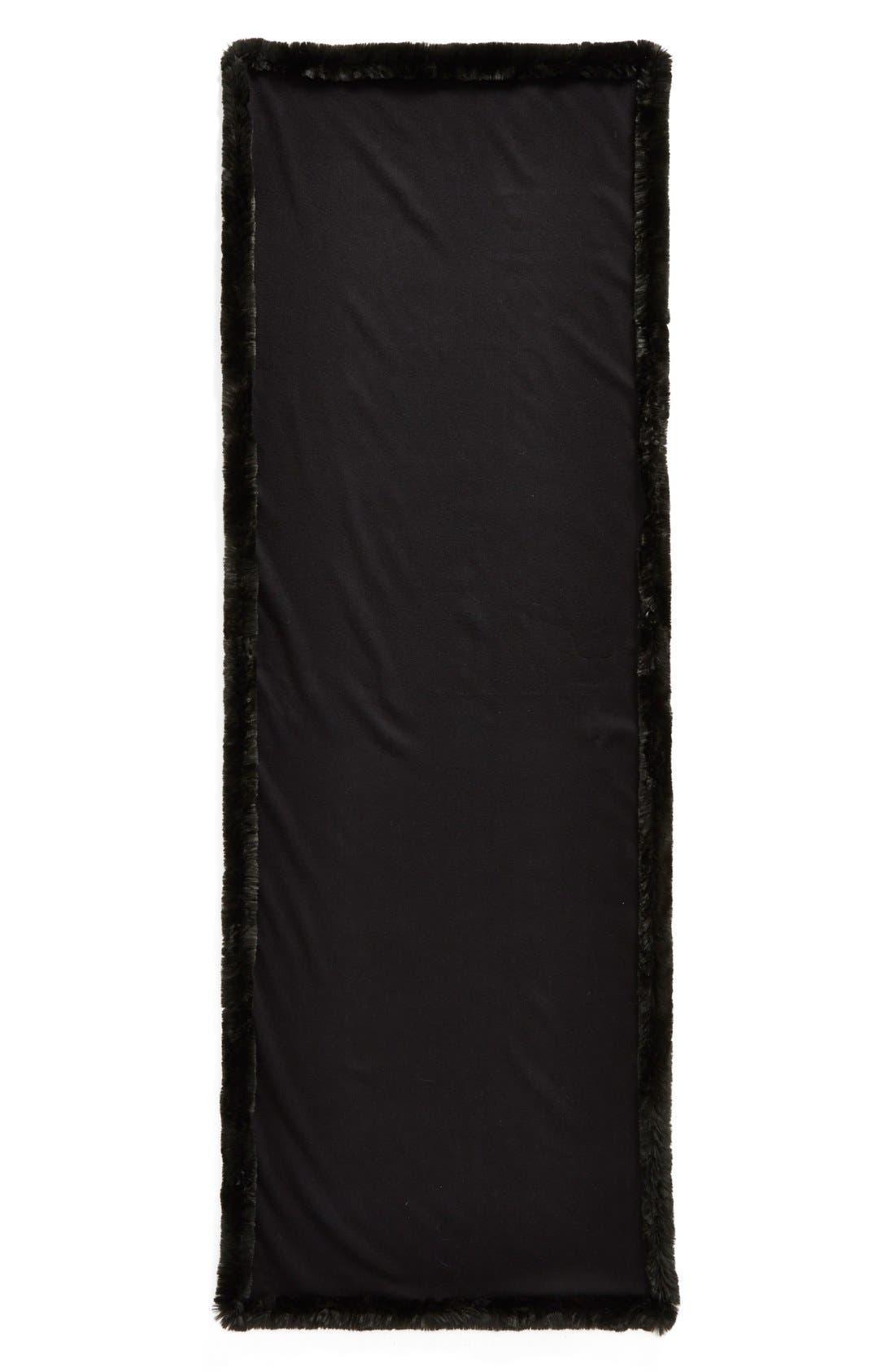 Faux Fur Trim Wrap,                             Alternate thumbnail 2, color,                             Black