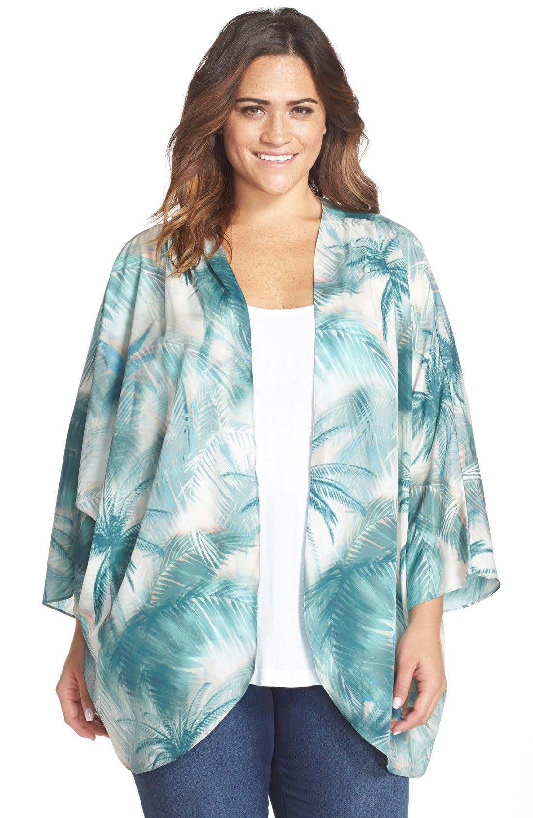 Palm Tree Print Kimono,                             Main thumbnail 1, color,                             Blue Green