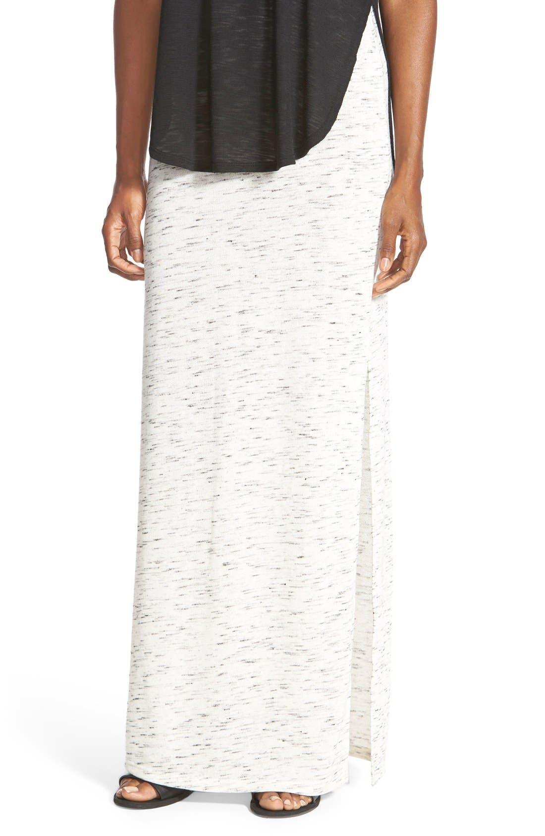 Main Image - The Hanger Heathered Knit Maxi Skirt (Juniors)