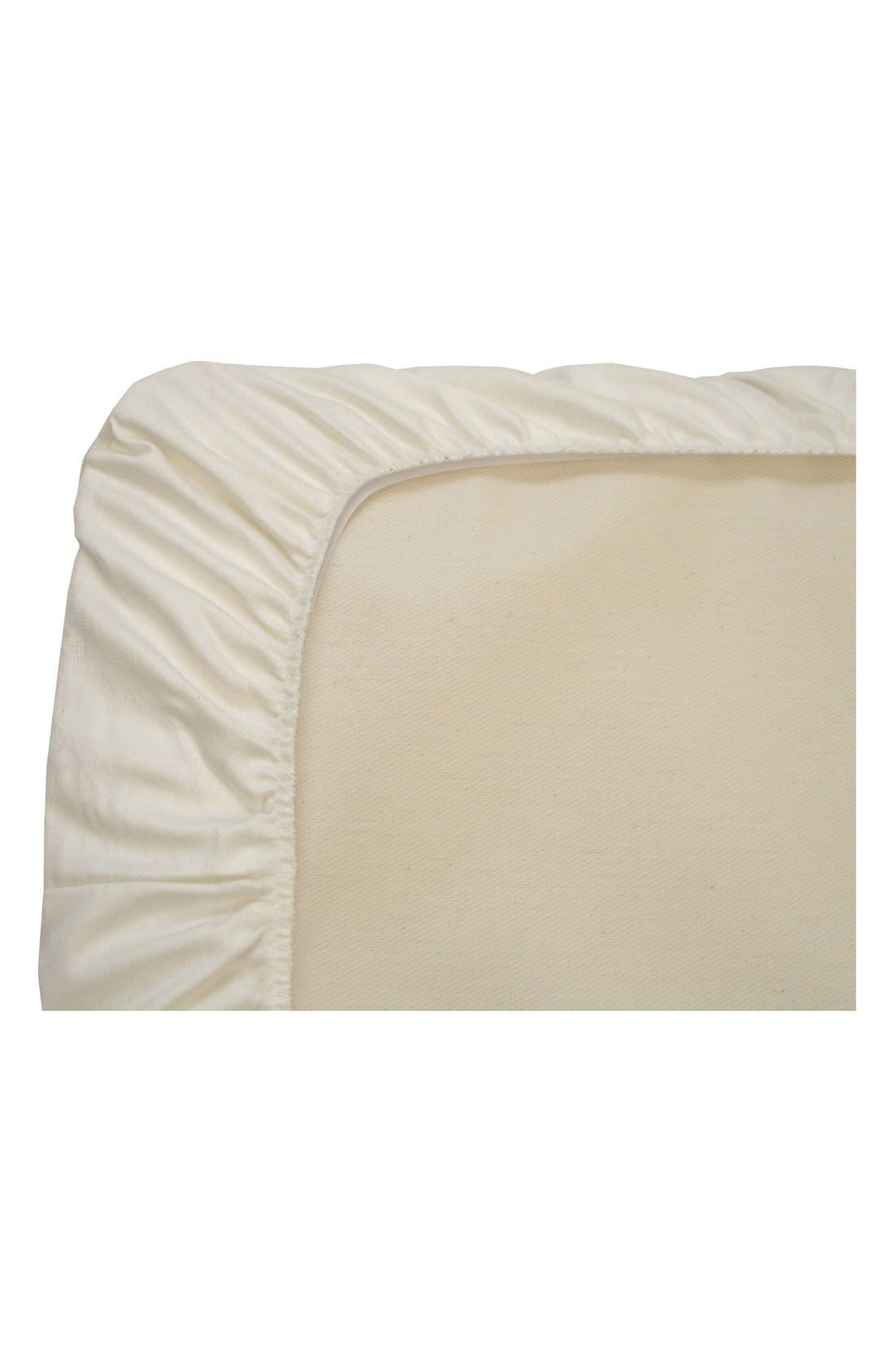 Organic Cotton Waterproof Fitted Crib Protector Pad,                             Alternate thumbnail 3, color,                             Natural