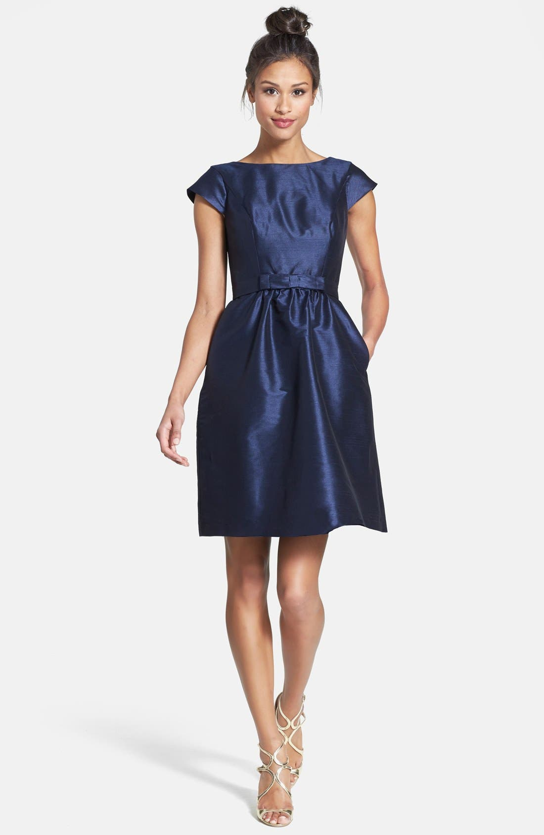 Woven Fit & Flare Dress,                             Main thumbnail 1, color,                             Midnight