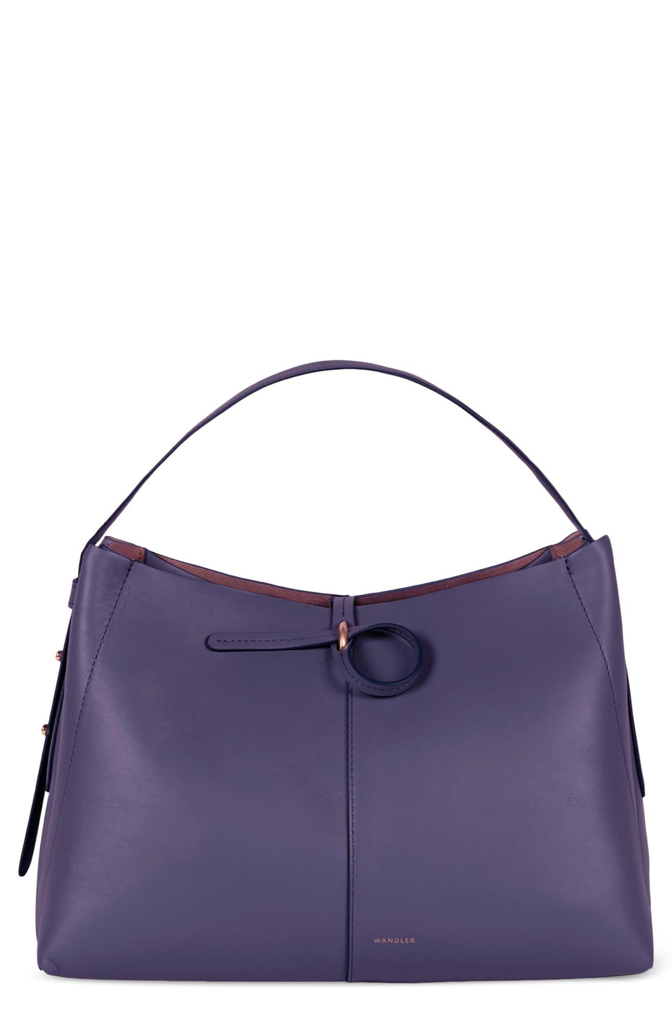 Small Satchel Purple Leather Purse