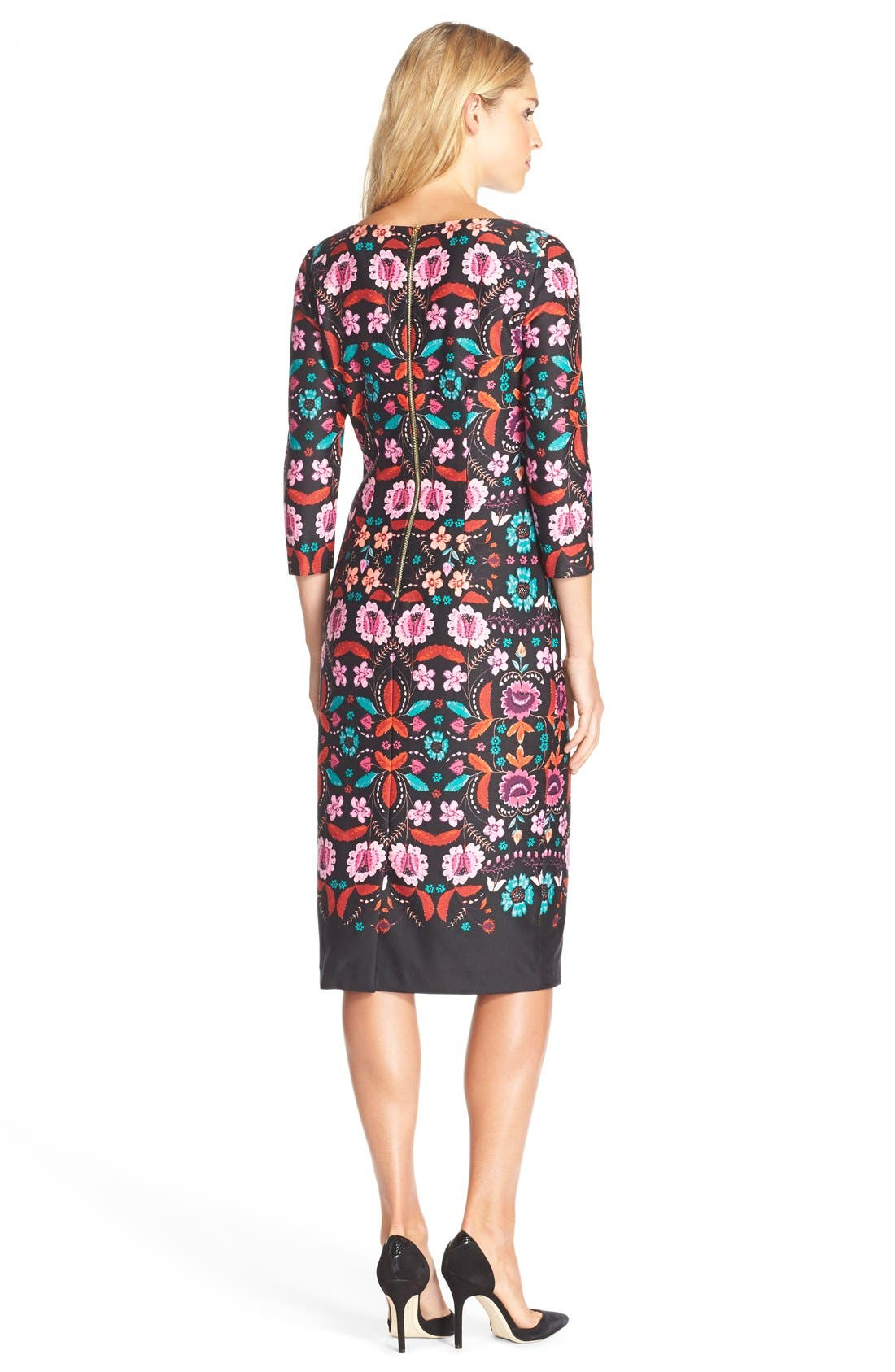 Alternate Image 2  - Eliza J Floral Print Ponte Sheath Dress (Regular & Petite)